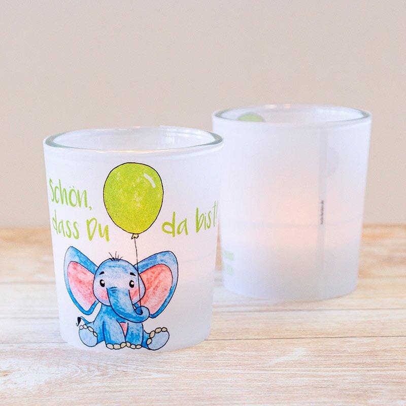 """windlicht für die taufe """"elefant mit luftballon"""""""